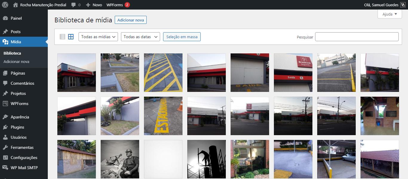 Visão da biblioteca de imagens do site