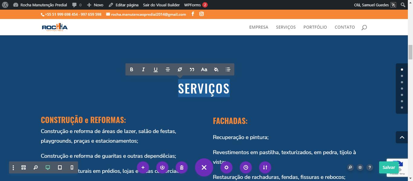 Construtor de página permite alterar seus textos diretamente no front-end